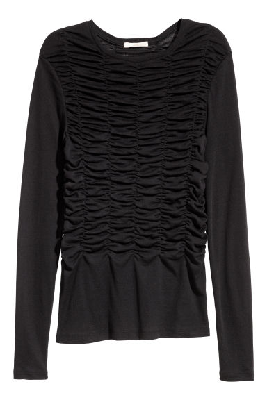 Gathered jersey top - Black - Ladies | H&M CN