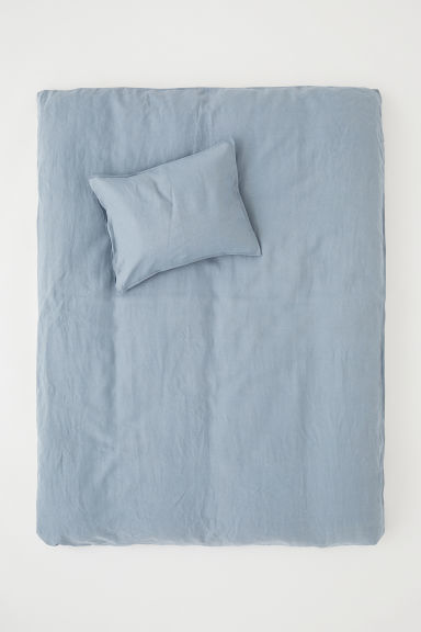 Set copripiumino lino lavato - Blu tortora - HOME | H&M IT