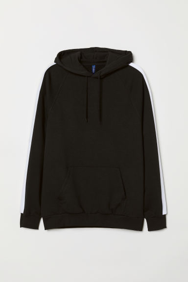 Hooded top with sleeve stripes - Black - Men | H&M CN