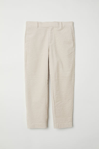 Cotton corduroy trousers - Light beige - Men | H&M