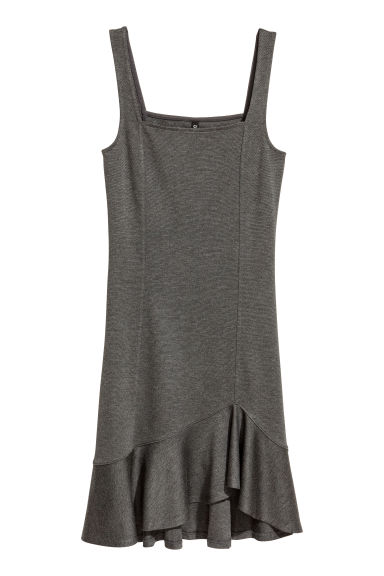 Dress with a flounce - Dark grey marl - Ladies | H&M