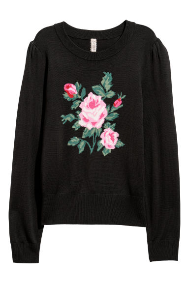 Fine-knit jumper with a motif - Black/Rose -  | H&M CN