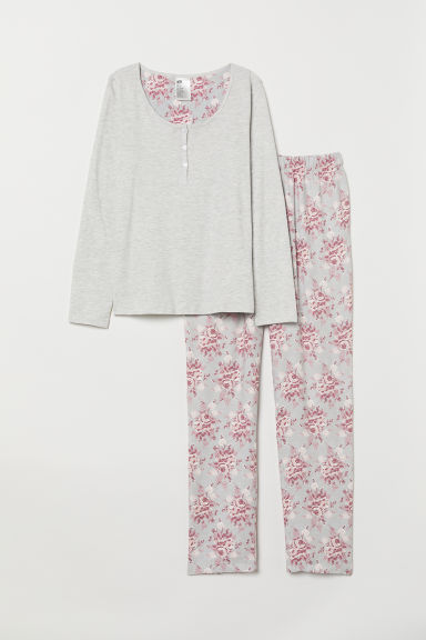 Pyjama top and bottoms - Light grey marl/Roses - Ladies | H&M