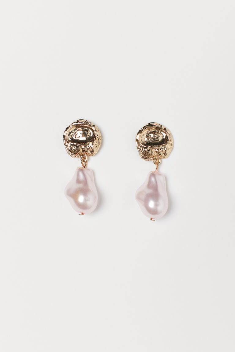 Pearlescent Earrings - Gold-colored/light pink - Ladies | H&M CA