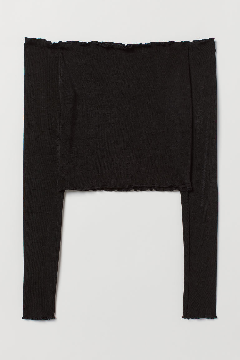 Top corto a spalle scoperte - Nero -  | H&M IT