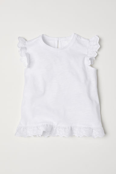 Short-sleeved jersey top - White - Kids | H&M CN