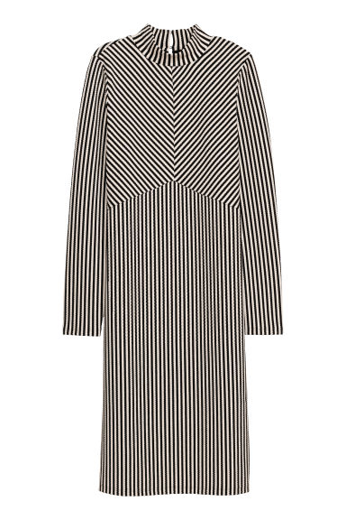 Fitted dress - Black/White striped -  | H&M IE