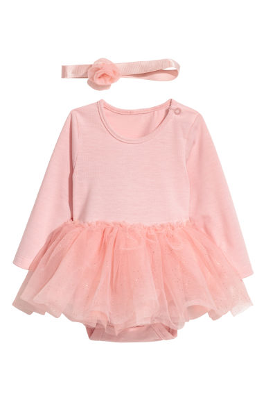 Bodysuit with a hairband - Powder pink -  | H&M
