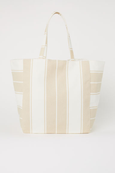 Canvas Shopper - Natural white/beige striped - Ladies | H&M US