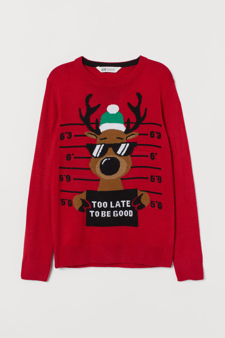 Fine-knit jumper - Red/Reindeer - Kids | H&M