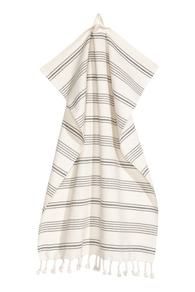 Striped hand towel - White/Grey striped -  | H&M CN