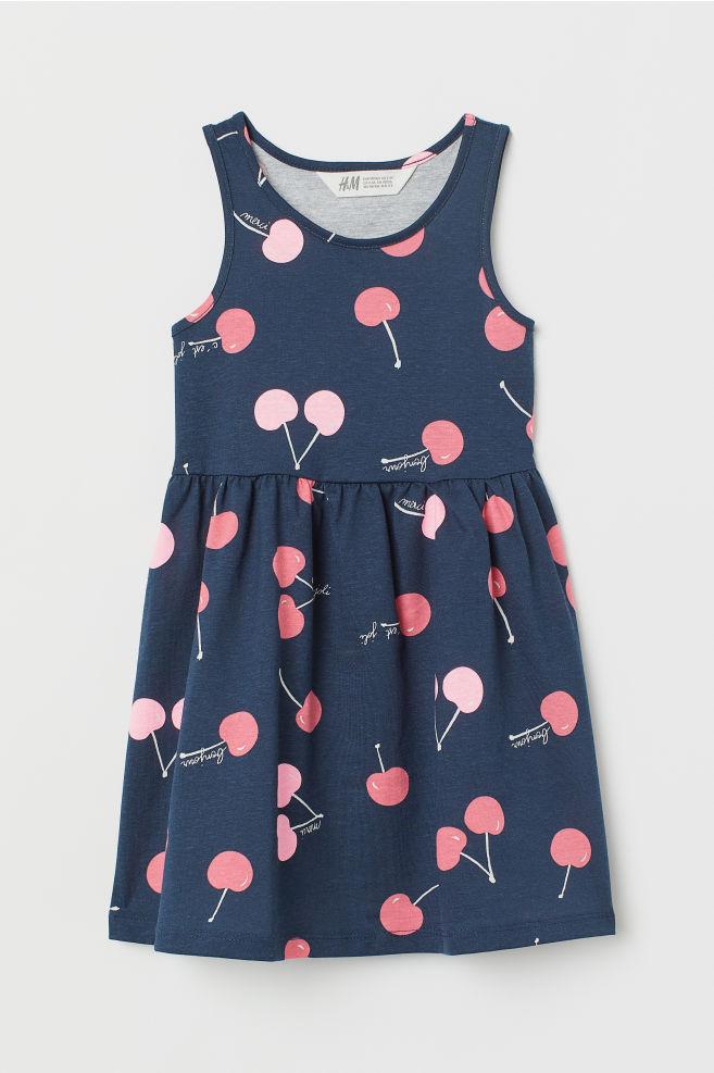 48709f2f4f33b Sleeveless Jersey Dress - Dark blue cherries - Kids