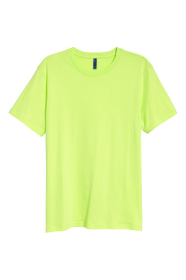 Round-neck T-shirt - Neon green - Men | H&M IN