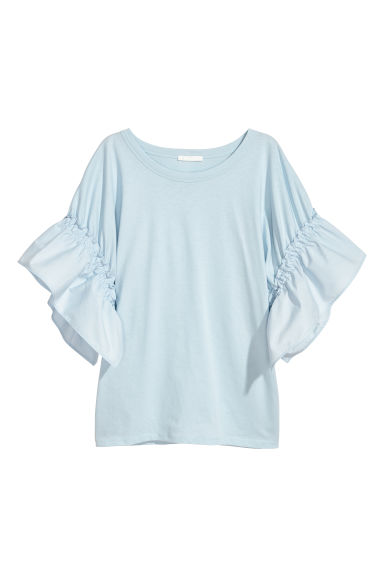 T-shirt with frilled sleeves - Light blue - Ladies | H&M