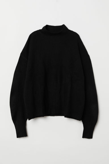 Knitted jumper with a collar - Black - Ladies | H&M CN