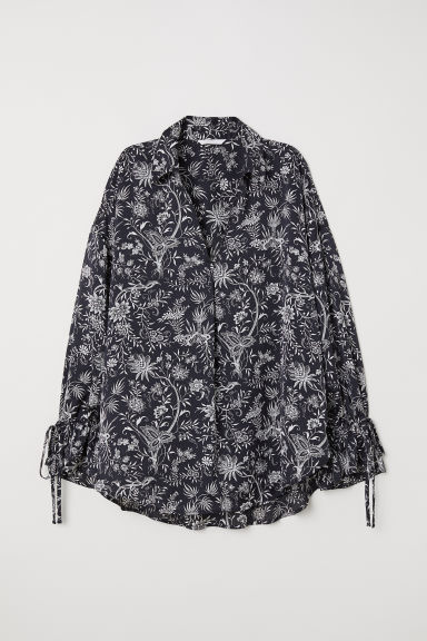 Wide shirt - Black/Patterned - Ladies | H&M