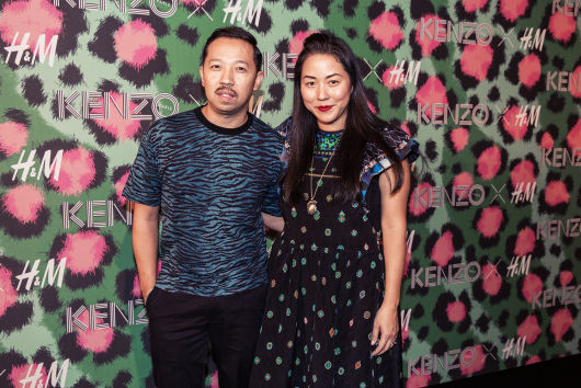 ed0f24759cd Kenzo Creative Directors Carol Lim and Humberto Leon on the red carpet at  the Kenzo x