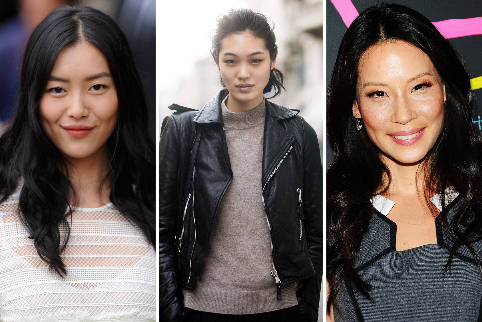 Monolid beauties Liu Wen, Chiharu Okunugi and Lucy Liu, Getty Images.