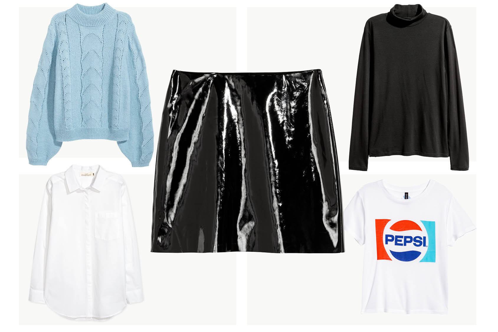 What to wear with the patent mini-skirt