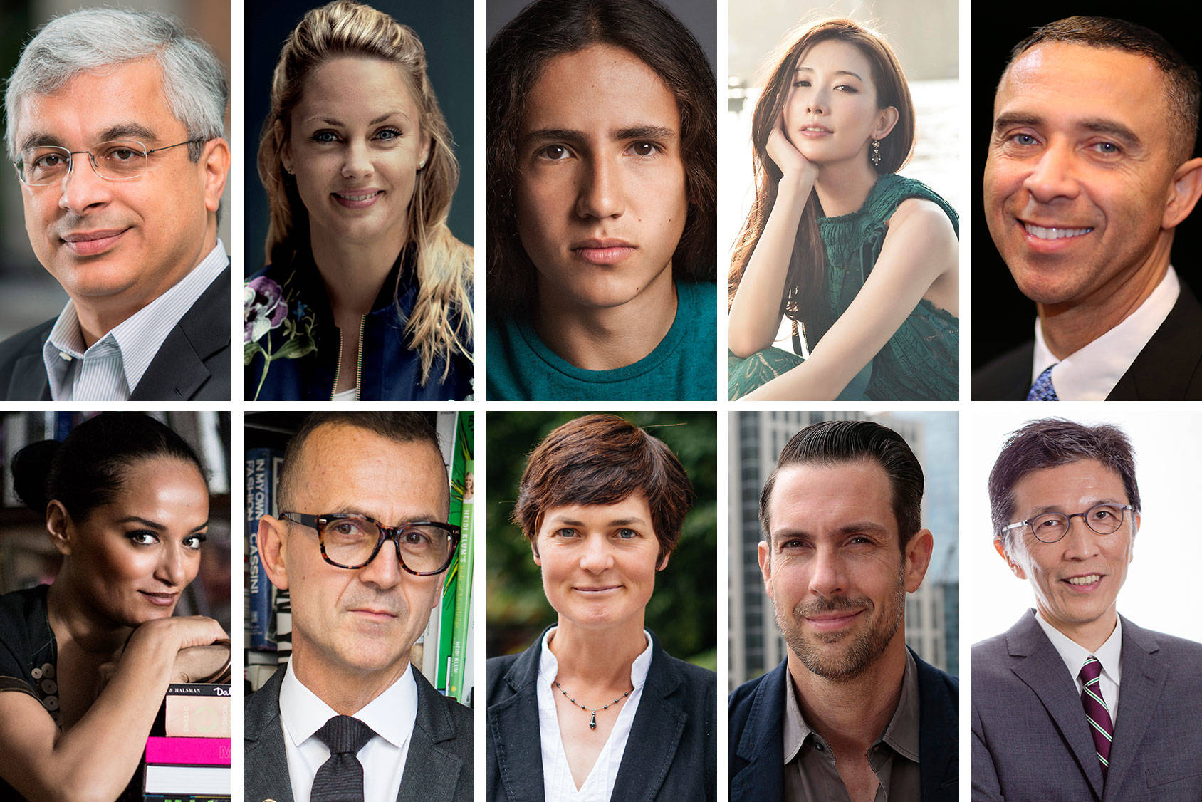 A panel of ten experts in fashion, environment and technology will select the five winning innovations. From top left: Vikram Widge, Sophia Bendz, Xiuhtezcatl Martinez, Chiling Lin, David Roberts, Bandana Tewari, Steven Kolb, Ellen MacArthur, Lewis Perkins and Edwin Keh.