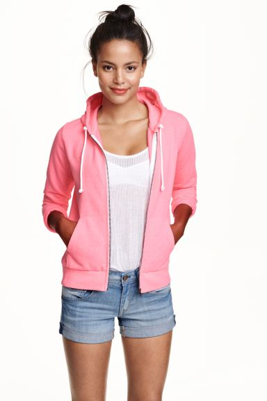 Hooded jacket - Neon pink - Ladies | H&M GB