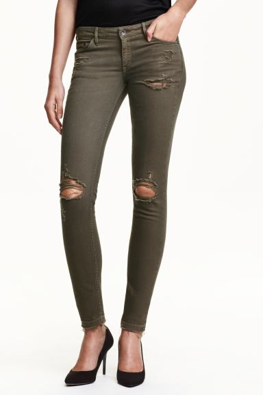 Super Skinny Low Ripped Jeans - Verde caqui oscuro - MUJER | H&M ES