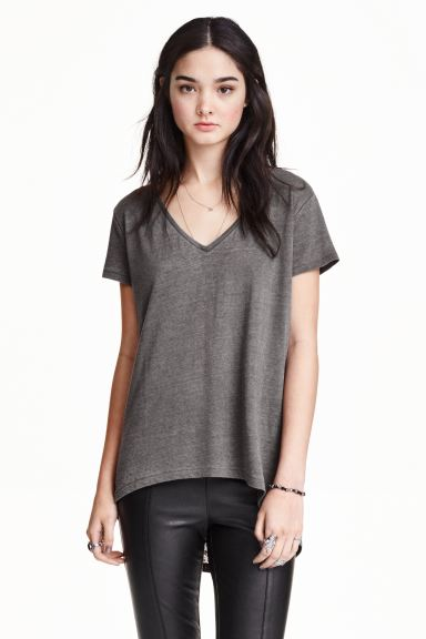 Top in jersey - Grigio scuro - DONNA | H&M IT