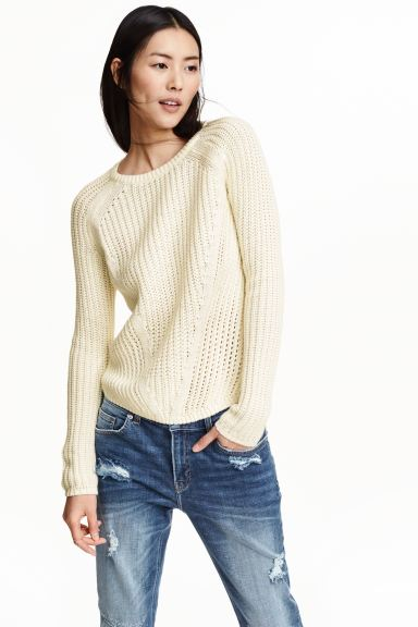 Ribbed jumper - Natural white - Ladies | H&M GB
