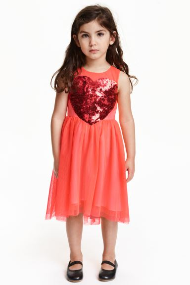Tulle dress - Coral/Heart - Kids | H&M GB