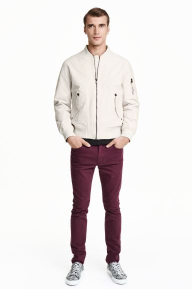 Twill trousers Skinny fit - Burgundy - Men | H&M GB