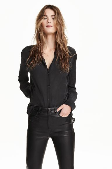 Silk shirt - Black - Ladies | H&M GB