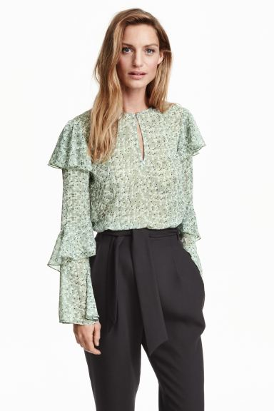 Crinkled chiffon blouse - Mint green/Patterned - Ladies | H&M GB