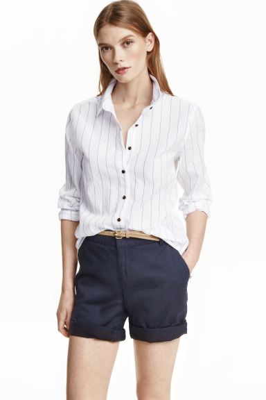 Patterned cotton shirt - White/Striped - Ladies | H&M GB