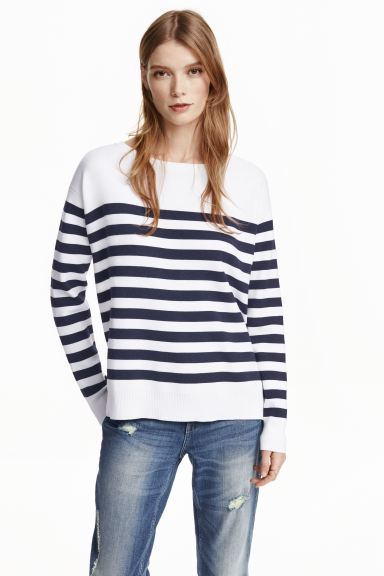 Knitted jumper - White/Striped - Ladies | H&M GB