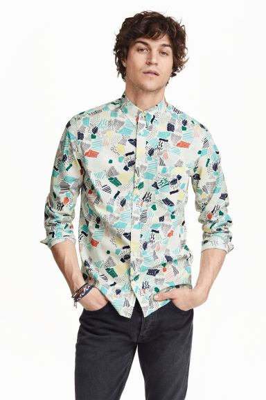 Patterned cotton shirt - Natural white - Men | H&M GB