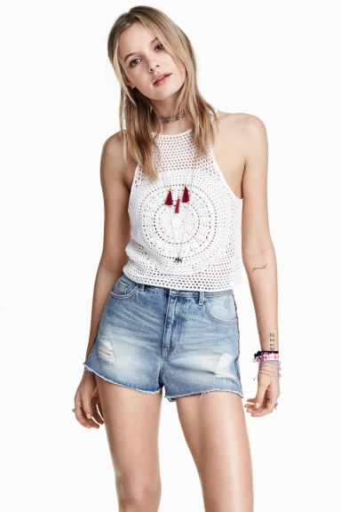 Crocheted crop top - White - Ladies | H&M GB