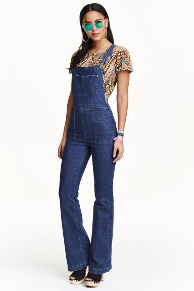 Flared denim dungarees - Denim blue - Ladies | H&M GB