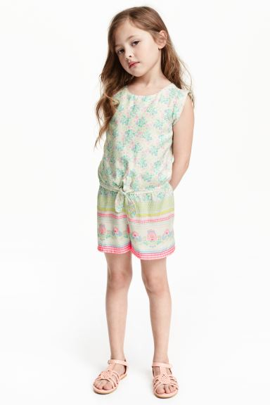 Playsuit with tie-front blouse - White/Green - Kids | H&M GB
