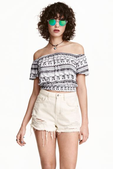 Off-the-shoulder cropped top - White/Elephants - Ladies | H&M GB