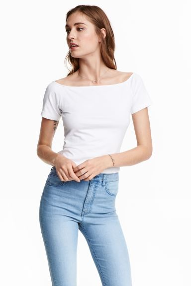 Off-the-shoulder top - White - Ladies | H&M GB