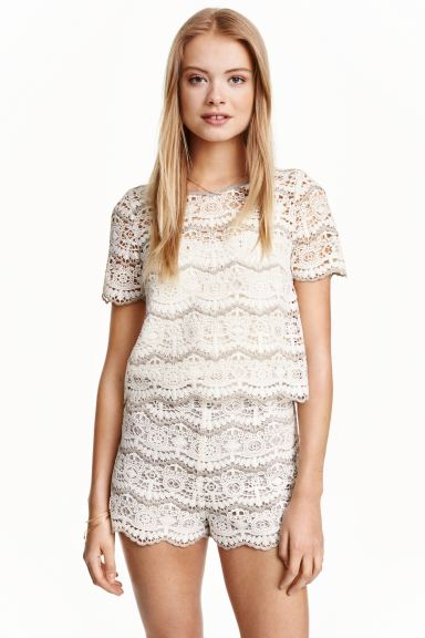 Lace top - Natural white - Ladies | H&M GB