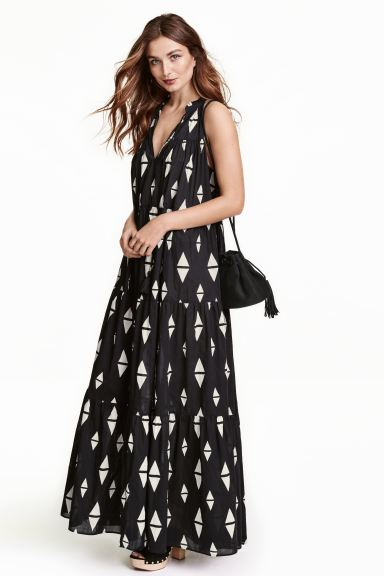 Patterned maxi dress - Black - Ladies | H&M GB