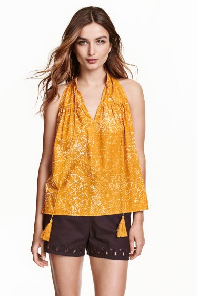 Sleeveless blouse - Mustard yellow/Patterned - Ladies | H&M GB