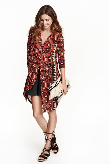Jersey tunic - Red/Patterned - Ladies | H&M GB