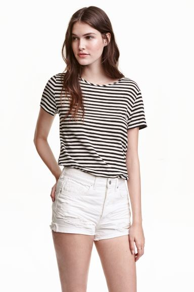 Short-sleeved blouse - Black/White/Striped - Ladies | H&M GB