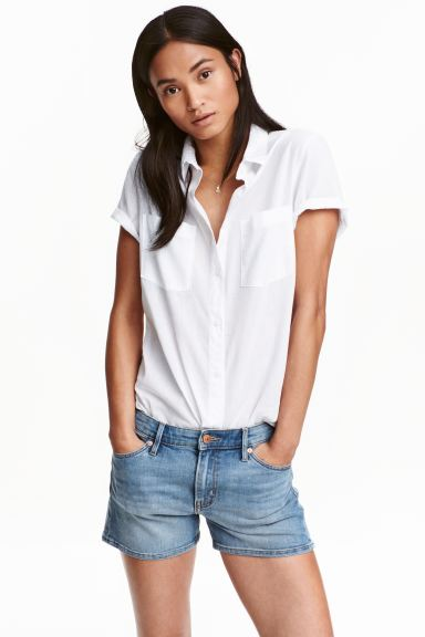 Short-sleeved cotton shirt - White - Ladies | H&M GB