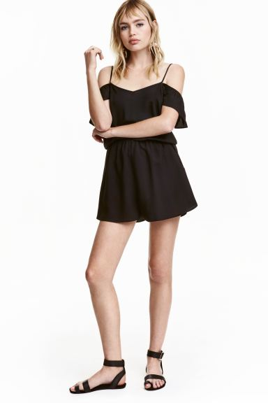Cold shoulder playsuit - Black - Ladies | H&M GB