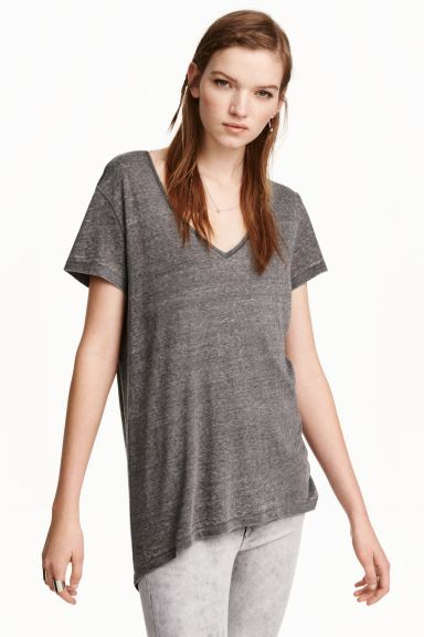 Top in jersey - Grigio/devoré - DONNA | H&M IT