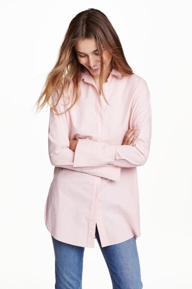 Long cotton shirt - Light pink - Ladies | H&M GB