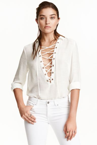 Shirt with lacing - White - Ladies | H&M GB